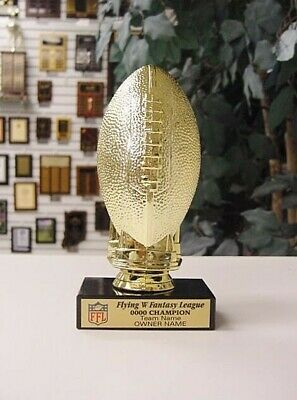 Small Fantasy Football Ffl Trophy With Color Logo On Black Marble