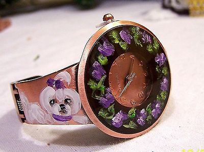 hand painted Maltese on Narmi bronce cuff watch sz small