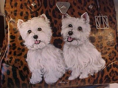 West Highland Terriers Handpainted Beautiful Handbag Best On Ebay