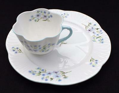 Vtg SHELLEY Bone China England Dainty BLUE ROCK Pattern #13591 Cup Snack Plate