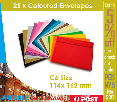 25x Coloured Envelopes Wedding Baby Party Invitation 114 x 162 mm