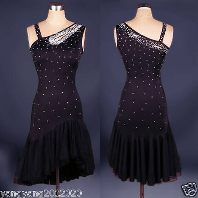 Black Latin salsa tango Cha cha Ballroom Competition Diamond Paste Dance Dress