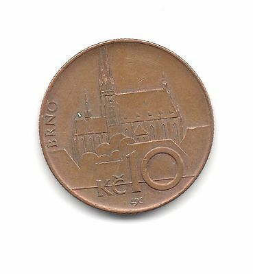 CZECH REPUBLIC = 2004, 10 Korun. Copper Plated Steel. Circulated. Good Grade.
