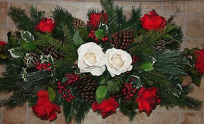 Valentines Day Cemetery Silk Flower Grave Christmas Pillow 34x13 White Red Roses