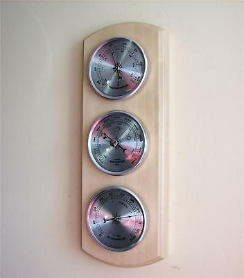 Weather Forecast Station Barometer Thermometer Hygrometer Silver Dials Wood New