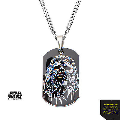 NEW Licensed Mens Star Wars Episode 7 Chewbacca Stainless Steel Dogtag Necklace