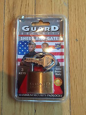 "Guard Security No. 624 Solid Brass 1-1/2"" Padlock with 3 Keys - New ""Unopened"""