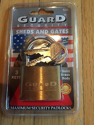 "Guard Security No. 625 Solid Brass 1-3/4"" Padlock with 3 Keys - New ""Unopened"""