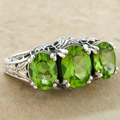 Genuine Peridot 3 Stone 925 Sterling Silver Art Deco Ring Size 7.75,  #370