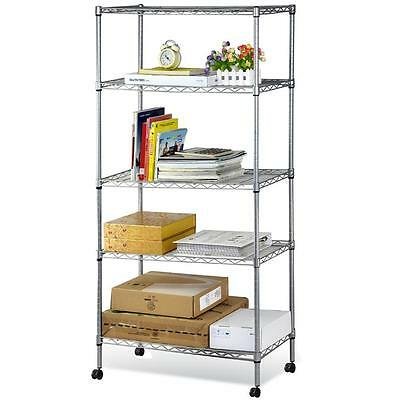 5-Shelf Steel Tier Shelving Rack with Wheels Adjustable Metal Layer Chrome