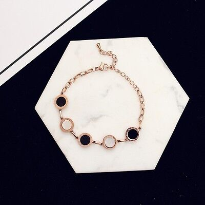 18K Rose Gold Plated Stunning Chain Circle Bracelet W/ SWAROVSKI CRYSTALS