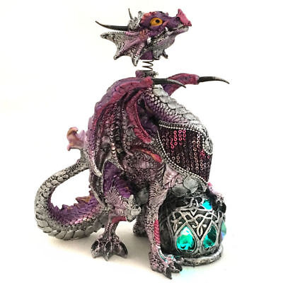 Dragon Statue Figurine Ornament Sculpture Bobble Head Light Purple 4033