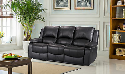 New Luxury Valencia 3 Seater Bonded Leather Recliner Sofa - Black