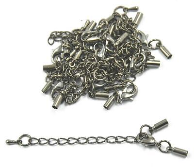 12Pcs Extension Link Chain With Cord Ends Caps for Necklace Bracelet Making