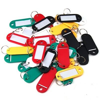 Coloured Small Plastic Key Fobs Luggage ID Tags Labels Key rings with Name Cards