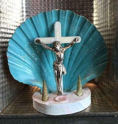 Vintage Crucifix Shell Statue Religious Artifact Kitsch Teal Blue Sparkles 4.5""