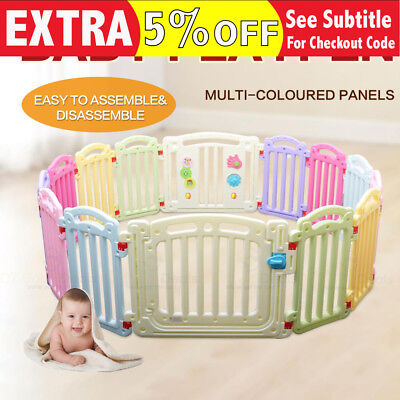 14 Panel Baby Kids Toddler Square Round Playpen Barrier Safety Gate 1.6x1.6m