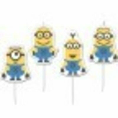 Despicable Me Minion Mini Figurine Candles 4 Pack Birthday Supplies Decorations