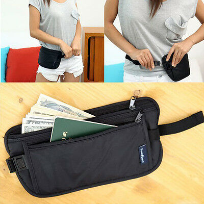 New Black Travel Pouch Hidden Compact Security Money Passport ID Waist Belt Bag