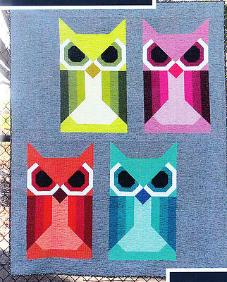 Allie Owl - fun modern pieced quilt PATTERN in 3 sizes - Elizabeth Hartman
