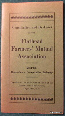 1910 Flathead Farmers' Mutual Assoc Constitution Indian Reservation  Ronan MT