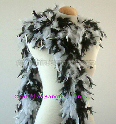 Black / White mixture  65 Grams Chandelle Feather Boa  Party Halloween Costume