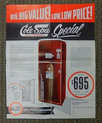 """Cole-Spa  Fully Automatic """"Special"""" Soda Vending Machine Advertising Flyer."""
