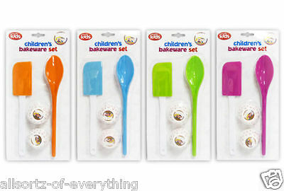 We Can Cook Childrens Bakeware Set Spatula Spoon & Cupcake Cases Pink Orange