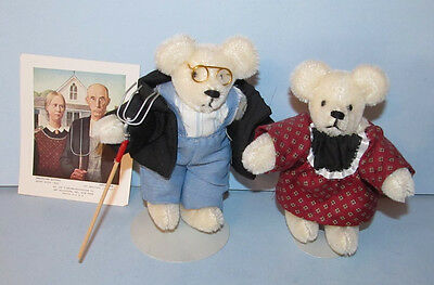 "Cute Pair Of 5"" Teddy Bears Fashioned After The American Gothic Farm Photo"