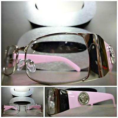 CLASSIC VINTAGE RETRO Style Clear Lens EYE GLASSES Silver & Pink Fashion Frame