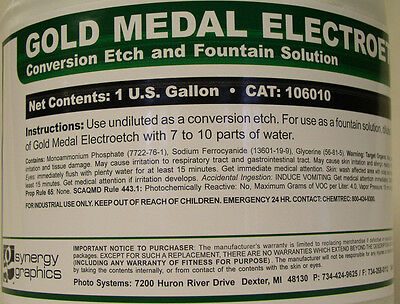 Electrostatic Plate Fountain Solution And Etch Gold Medal Electroetch 1 Gallon