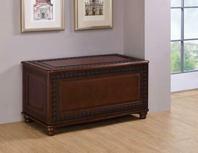 Tobacco Finish Cedar Chest with Detailed Carvings and Bun Feet by Coaster 900012