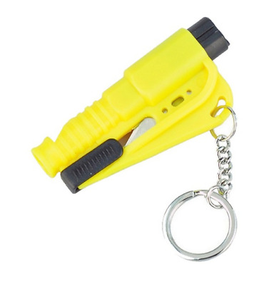 Car keychain Safety Tool Hammer Window Breaker seat Belt Cutter whistle Yellow
