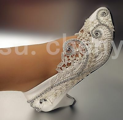 "2"" low heel Lace white light ivory crystal Wedding shoes Bridal pump size 5-12"