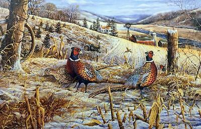 """Ray Mertes """"Morning Glow' Pheasant Farm Tractor Signed and Numbered Art Print"""