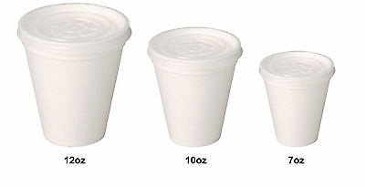 Disposable Polystyrene Tea/Coffee Takeaway Cups 7oz - 10oz -12oz Cups With Lids
