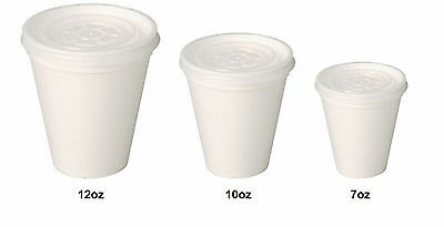 White Insulated Polystyrene Foam Cups 7 / 10 / 12 / 16oz Cups With Lids