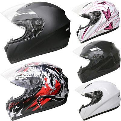 Leopard LEO-819 Full Face Motorbike Motorcycle Bike Crash Helmet Graphic & Plain