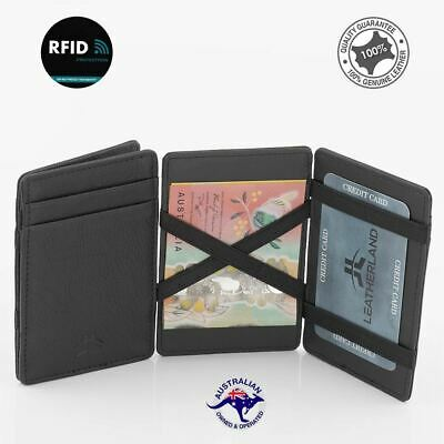 Flip Magic Genuine Leather Credit Card RFID Wallet Slim Line Credit Card Holder