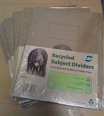 Pukka Pad Recycled Cardboard Subject Dividers Tabs A4 200 GSM new