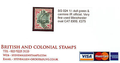 SG 024 1/- dull green & carmine IR official. Very fine used Manchester oval...