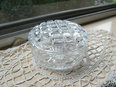 CRYSTAL Hand Cut 25%pbo Czech Beautiful Crystal As New Lidded Jewellery Jar