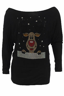 Ladies Top Studded Reindeer Christmas Batwing Sleeves Womens Plus Size Nouvelle