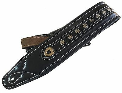 "Genuine Leather Soft Padded  ""IRON CROSS""  Electric, Acoustic, Bass Guitar Strap"