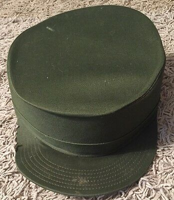 "1950's Vintage Society Brand Hat Co Military Hat ""Ironsides"", Sz 7 1/8, Green"