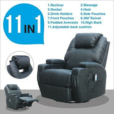 Black Leather Functional Electric Massage Sofa Chair Recliner Heating Swivel