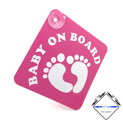 BABY ON BOARD - pink / white gloss VINYL car window sign with suction cups