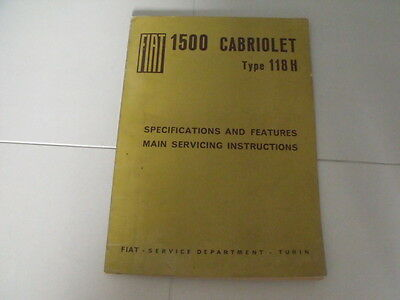 Fiat 1500 Cabriolet Type 118H Original Specification and Features Manual