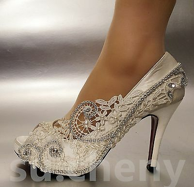 """3""""/ 4"""" heel Pearl ivory silk lace open toe crystal Wedding shoes Bride size 5-11"""