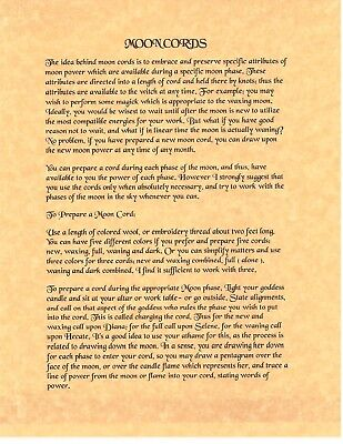 Book of Shadows Spell Pages ** How to Make Moon Cords ** Wicca Witchcraft BOS